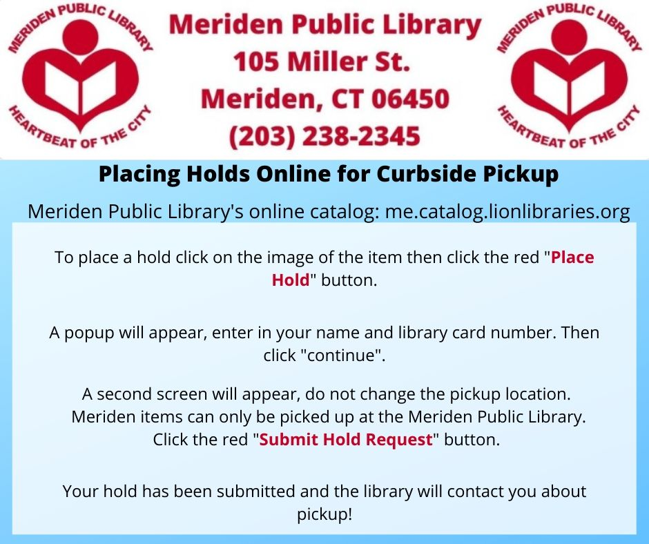 copy of placing hold on meriden item